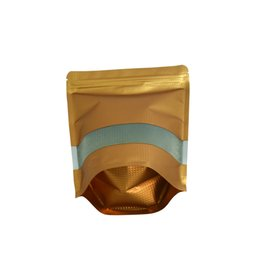 $enCountryForm.capitalKeyWord UK - 50Pcs Lot 18*26cm Gold Embossed Stand Up Zip Lock Package Bag Aluminum Foil Reclosable Vacuum Food Pouch for Cereal Drysaltery Scented Tea