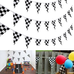 Black White Birthday Party Decorations Australia - 1Pcs 10M 38pcs Flags Checkered Pennant Banner Black and White Flags Racing Home Birthday Party Decoration