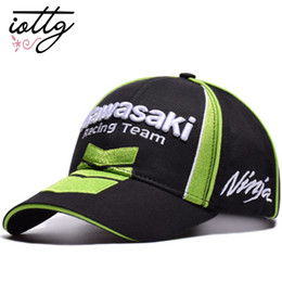 Red White Kawasaki Canada - IOTTG MOTO GP Kawasaki Ninja 76 Motorcycle Racing Cap Mens Sport Cap Cool Casual Sun Racing F1 Baseball Outdoor Casquette