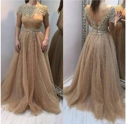 $enCountryForm.capitalKeyWord Canada - 2019 New Champagne Gold Prom Dresses Bateau Neck Short Sleeves Open Back Tulle Lace Pearls Arabic Plus Size Evening Dress Wear Party Gowns