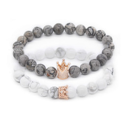 Clay flowers for jewelry online shopping - His And Hers Bracelets mm Grey Map Stone Howlite Beads Cz Crown King Charm Bracelet For Lovers Distance Jewelry Accessory