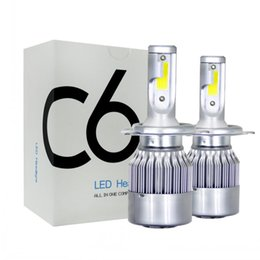 C6 светодиодные фары автомобиля 72 Вт 7600LM COB авто фары Лампы H1 H3 H4 H7 H11 880 9004 9005 9006 9007 стайлинга автомобилей огни