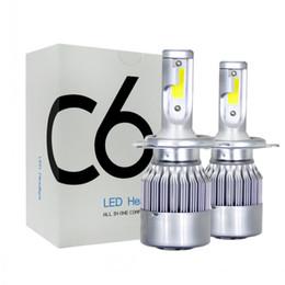 Venta al por mayor de C6 LED faros de coche 72W 7600LM COB Bombillas de faro auto H1 H3 H4 H7 H11 880 9004 9005 9006 9007 luces de estilo de coche