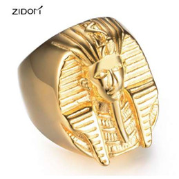 Egyptian Figures Australia - New arrived Gold color Men Hiphop Egyptian pharaoh rings fashion hip hop Figure ring jewelry gifts