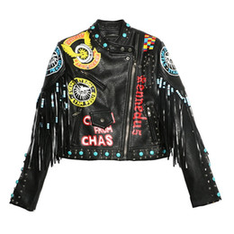 China Unique Eagle Print Fringe jacket punk rock rivet motocycle short design chaqueta cuero mujer PU leather coat LT269S10 suppliers