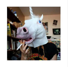 creepy unicorn mask UK - Halloween Party Essential Costume Party Theater Cosplay Prop Novelty Latex Rubber Creepy Mask Unicorn Horse Head Full Face Mask