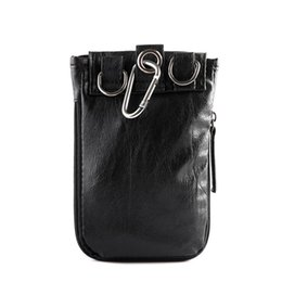shaped cellphone 2019 - HIPSTEEN Men Bag Fashion Male PU Cellphone Waist Bag Durable Belt Loop Holster Pouch Black 19*5.5*13.5cm discount shaped