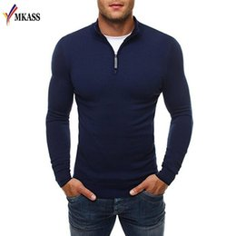 pullover polo UK - New Sweater Pullover Men Brand Casual Slim Sweaters Classic Zipper High Collar Simple Solid Color Men Polo Sweater 3XL