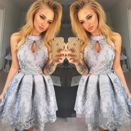 grade graduation photos NZ - Sexy High Neck Homecoming Dresses Lace Mini Short Zipper Back Tulle 8th Grade Graduation Party Dresses Sweet 16 Dresses