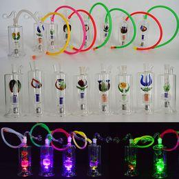 "Lighted Bong Canada - Recycler Oil Rigs Water Pipes 5"" Multicolor Led Light Beaker Bongs Inline Matrix Perc Glass Hookah 10mm Joint Bubble Shining Shisha Dab Rig"