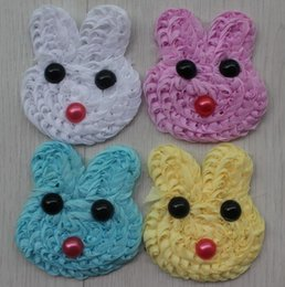 $enCountryForm.capitalKeyWord Australia - 150pcs 8cm Chiffon Rosette Bunny Face Applique for babies-shabby chic chiffon bunnies for diy girls hair and clothing flower accessories
