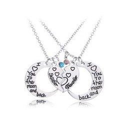 gift for mother christmas UK - Fashion Moon Necklace I Love You To The Moon And Back Mother and Daughter Heart Pendant Chains Fashion Jewelry for Women MOQ 30 sets