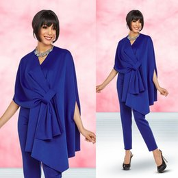 $enCountryForm.capitalKeyWord Australia - Blue Mother Of Bridal Pant Suits For Wedding V Neck Mothers Formal Outfit Garment Half Long Sleeve Ruffles Formal Prom Evening Dress