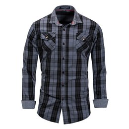 mens dress clothing UK - Fredd Marshall Brand Men Clothing Cotton Mens Shirts Casual Slim Fit Male Long Sleeve 2018 Plaid Men Dress Shirt Plus Size M-3XL