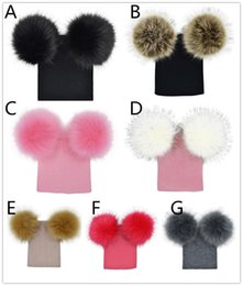 BaBy knit hats colors online shopping - Kids knitted hat big double pompons knitting baby hat colors for m T boys girls cute pompons ins hot