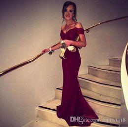 White Maxi Prom Dresses Australia - 2017 New Fashion Satin ushers Dark Red Mermaid Prom Dress Cap Sleeve Boat Neck Lace Backless Evening Dresses Bridesmaid Dress C18111601