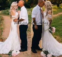 $enCountryForm.capitalKeyWord NZ - Bohemian Beach Country Cheap Mermaid Wedding Dresses Off Shoulder Full Lace Court Train Wedding Bridal Gowns Summer Boho High Quality