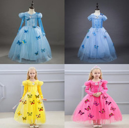 halloween costumes for kids babies NZ - snowflake diamond cinderella dress 2016 fancy costumes for kids blue gown Halloween baby girl butterfly dress 5 Layers in stock