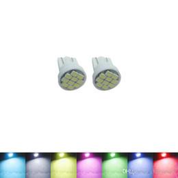 Discount blue chip cars - wholesale Car DC12V T10 194 168 10-SMD 1206 Chip Car Wedge LED Light Bulb 7-Color #1718
