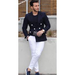 $enCountryForm.capitalKeyWord NZ - 2018 Top Selling Navy Blue Double Breasted Coat Men Suit Casual Summer Autumn Blazer Tuxedo Custom Made Mens Suits 2pcs