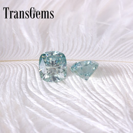$enCountryForm.capitalKeyWord Australia - TransGems 7mm*8mm 2 Carat Slight Blue Color Cushion cut Lab Grown Moissanite Diamond Loose Stone Test Positive 1pcs S923