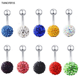 $enCountryForm.capitalKeyWord Canada - Belly ring piercing jewelry B02 30pcs mix 10 color shamballa ball body jewelry navel belly button ring