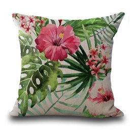 Cushion Cover Colorful Butterfly Pillow Case Blue Green Cyan Pink Flowers Leaf Letters Decoration Bedroom Sofa Cushion Cover 45*45 Polyester