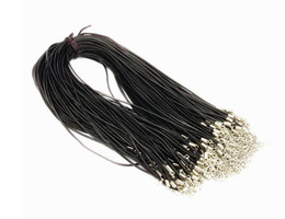 Chinese  100PCS 2mm Black Genuine Leather Necklace Cord String Rope Wire 45cm DIY Jewelry Extender Chain With Lobster Clasp Components manufacturers