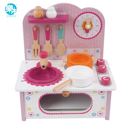kids wooden toy kitchen UK - Baby cooking toy kid cooking set wooden play kitchen toy kitchen for children play wooden toy food kids play kitchen set pink