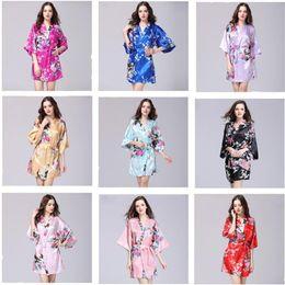 Fashion kimono online shopping - Silk Satin Wedding Bride Bridesmaid Robe Flower Bath Short Kimono Long Night Bathrobe Bath Fashion Lady