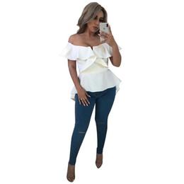 12afbc50e Off The Shoulder Sexy Front Short Back Long Top para mujer Slash Neck  Ruffles Camisa dividida