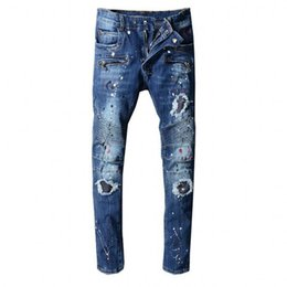 $enCountryForm.capitalKeyWord UK - hot sale Men's New brand jeans motorcycle for men tight denim Jeans high fashion designer famous Patch ruffle jeans pants