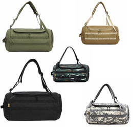 Camouflage Duffel Cylinder Bag Canvas Travel Backpack Rucksack Men Outdoor  Gym Hiking Camping Yoga Luggage Handbag DDA728 ae5395349ff33