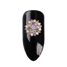 Chinese  10Pcs Lot Nails Decoration Golden Metal Round Shining Diamond Flowers Design 3D Glitter Rhinestones For Nail Art Decor TN2220 manufacturers