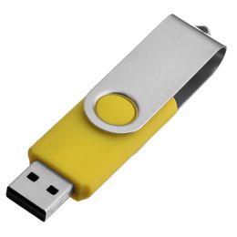 Usb Pen Gb Australia - Yellow Metal Rotating 64GB USB 2.0 Flash Drives 64gb Swivel Flash Pen Drive Enough Memory Stick for PC Laptop Macbook Tablet Thumb Storage