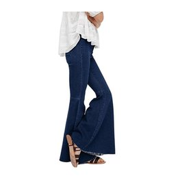 Chinese  Office Lady Wide Leg Womens Flare Jeans Tassels Vintage High Waisted Flared Denim Jeans Butt Lift Feminino manufacturers