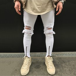 White Joggers Gold Zippers NZ - Zipper Cuff Knee Holed Trousers Tight Distressed Jogger Jeans 119#