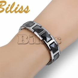 Discount stone bracelet health - Fashion Cool Black Ceramic Bracelet Health Energy with Magnetic Stone Tungsten Chain Bracelets For Men 19.8*12 mm pulsei