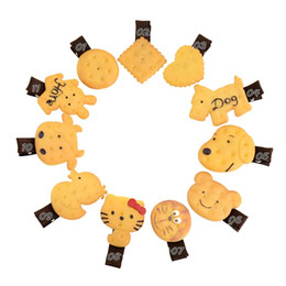 China 10pcs Lovely hairpin soft sister cookie bear hairpin edge clamp simulation cookies duckbill clip children's hairping HD734 supplier bored hair suppliers