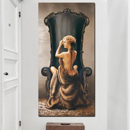 art canvas prints Australia - 1 Piece HD Print Wall Canvas Art Vintage Large Sexy Woman on Chair Oil Figure Painting Girl Naked Body Picture No Framed