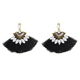 Chinese  idealway 4 Colors 4 Colors Cotton Thread Tassel Rhinestone Drop Earrings for Women Jewelry Gift manufacturers