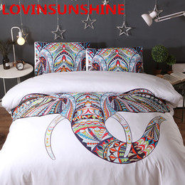 Colorful Printed Bedding NZ - 3 Pieces 3D Elephant Bedding Set Bohemia King Duvet Cover with Pillow Case Colorful Printed Indian Bed Set Cover