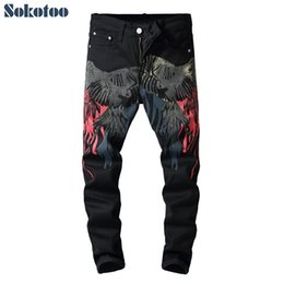Painting eagles online shopping - Sokotoo Men s colored pattern D printed back jeans Fashion eagle painted slim fit straight pants
