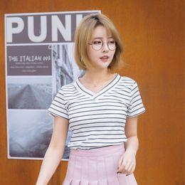 $enCountryForm.capitalKeyWord Australia - Fashion Summer Women Striped V-neck Short Sleeves Cotton Casual Girls Women T-shirts Black White Pink Gray S-2XL
