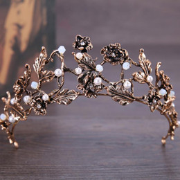 bronze claws hair Canada - Bronze flower, diamond shaped crown ornaments, alloy pearl, beautiful bridal headwear.
