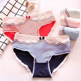 00a95d997f83e Black girls white lace underwear online shopping - 7 Colors cotton cute  girls bow Striped lace