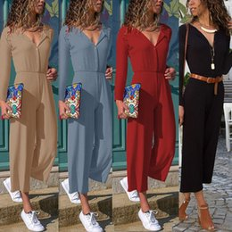 $enCountryForm.capitalKeyWord NZ - New Women Wide Legs Solis Casual Bodycon Loose Jumpsuit V-neck Long Romper Trousers Clubwear Playsuit