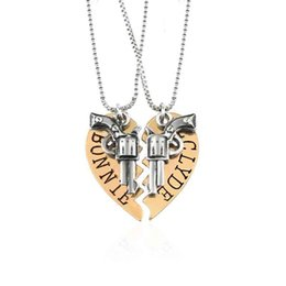 $enCountryForm.capitalKeyWord Australia - Fashion Gold Silver Plated Chain Necklace Two Piece of Heart Combinations Gun Shape Pendants Necklace Valentine's Day Lovers Gift
