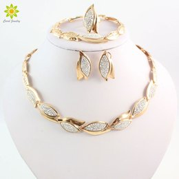 ring shaped earrings Australia - african beads jewelry set Fashion Women Party Gold Color African Bead Jewelry Sets Crystal Leaves Shape Necklace Bracelet Earrings Ring