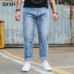 $enCountryForm.capitalKeyWord NZ - GxxH New large size Loose large pocket Nine points jeans Spring and Autumn Elastic Straight waist Washed Light blue Jeans 6XL